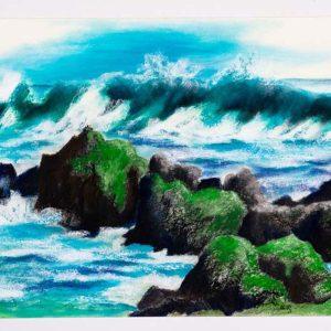 Moosige Felsen im Wasser