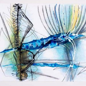 Linien aus blauer Fläche entspringend