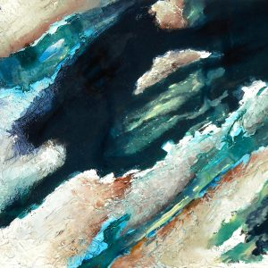 Abstrakte Flächen mit Acryllasur, Modelierpaste und Seidenpapier